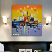 Wedding decoration 100% Hand painted High Quality Abstract Oil Painting on Canvas knife Colors Picture for living room