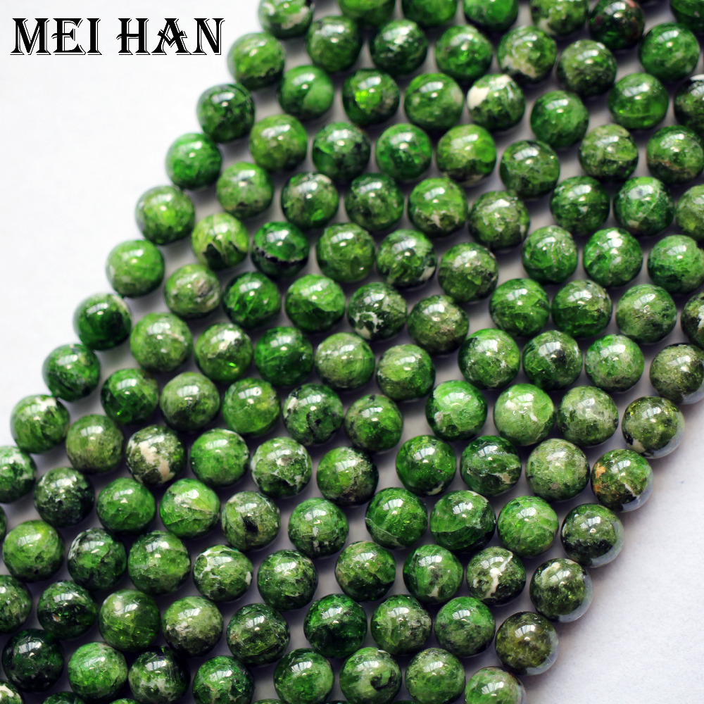 Image 3 - Meihan natural green chrome diopside 7+ 0.2mm smooth round loose stone beads for jewelry making DIY design-in Beads from Jewelry & Accessories
