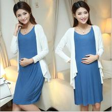 Two-piece Large Size 2016 Maternity Dresses For Pregnancy Clothes For Pregnant Women Skirt Cotton Long-sleeved Vestdios