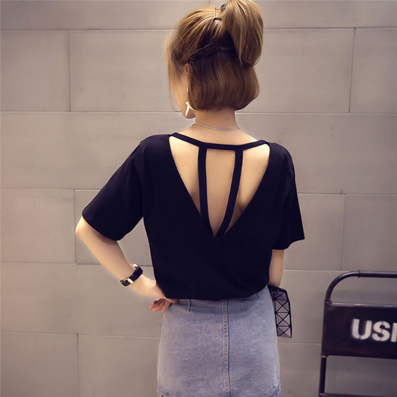 New Women Short Sleeve Backless Top Ladies Summer Solid Color T-Shirt Fashion Casual O-Neck Back Hollow Out Slim Tees