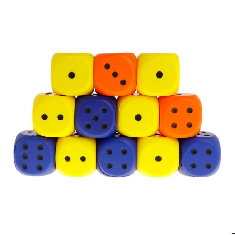 12PCS 6cm EVA Foam Playing Dice Block Party Toy Party Favors Table Games Prize Kids Toy Squeeze Toys