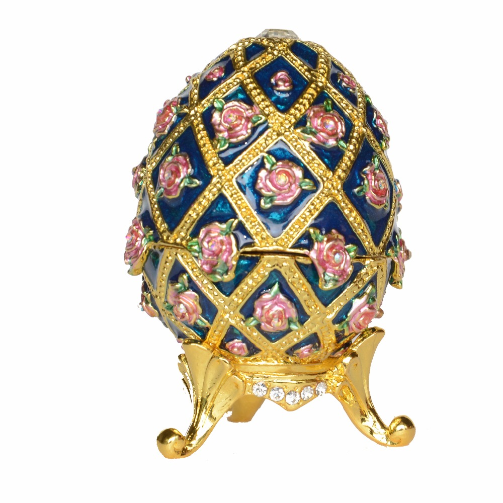 Us 16 99 Russian Rose Faberge Egg Luxury Jewelry Box Easter Egg Bejeweled Trinket Metal Novelty Gift For Her Christmas Gifts In Jewelry Packaging