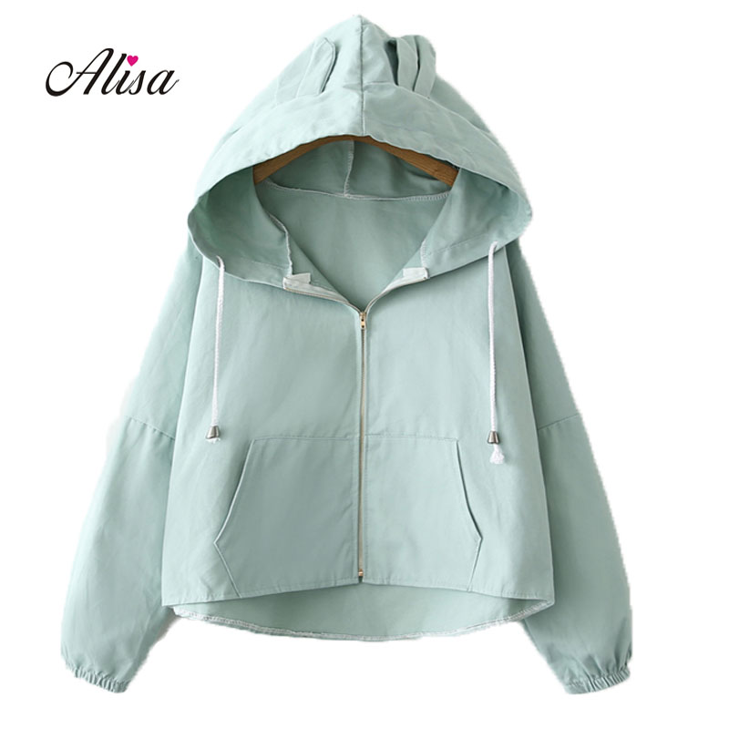 Jacket Womens 2018 New Fashion Casual Hooded Basic Short Jacket Women Thin Windbreaker Female Outwear Women Coat Casaco Feminina ...