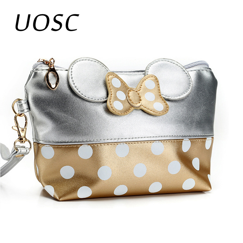 UOSC Cosmetic Bag Cartoon Bow Makeup Case Women Zipper Hand Holding Make Up Handbag Organizer Storage Pouch Toiletry Wash Bags