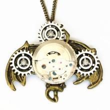 steampunk gothic mechanical watch parts movements gear bat wing hanging halloween pendant necklace men women vintage jewelry diy