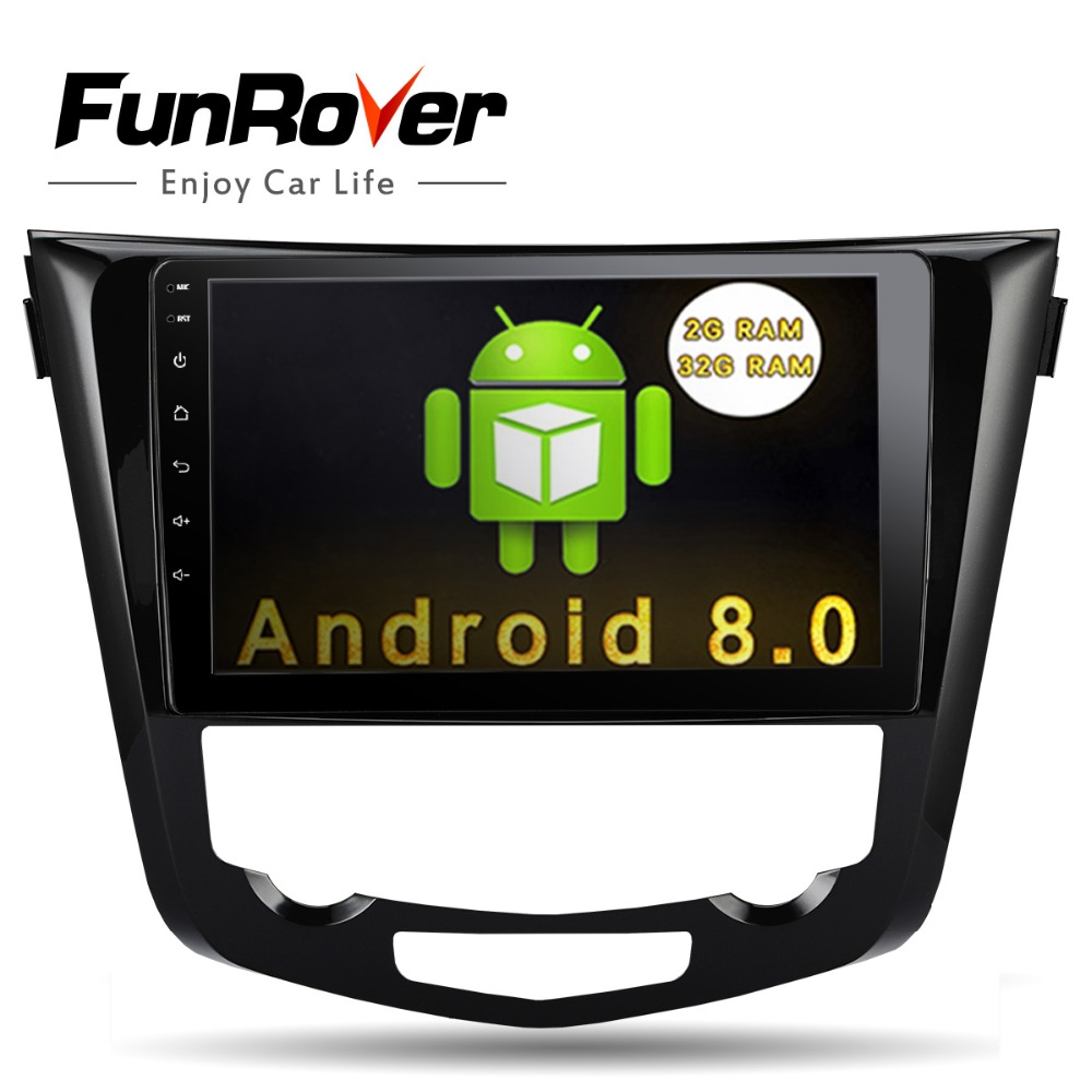 Funrover 10.1'' Android 8.0 2 din Car DVD Player for Nissan X Trail Qashqail 2014 2017 gps radio tape record stereo rds wifi fm
