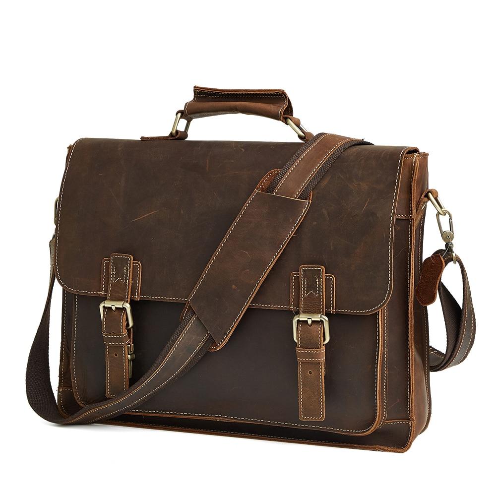 Designer Men's Briefcase Crazy Horse Genuine Leather Men's Business Bag Vintage Male Messenger Shoulder Bag Men Briefcase