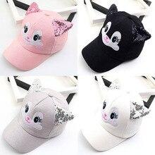 Fashion Cartoon Baseball Caps Korean Cute Style Little Cat Kids Hat With Ears Outdoor Sunscreen Adjustable Snapback