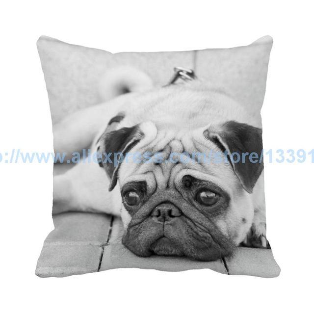 Sad Face Pug Dog Throw Pillow Custom Grey Suede Cushion For Sofa Chair Home Decor