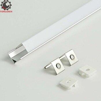Perfil de extrusión de aluminio de 16x16mm, canal de fijación de tira Led, cubierta cuadrada de 45 grados, montaje en esquina, tira Led de canal de aluminio
