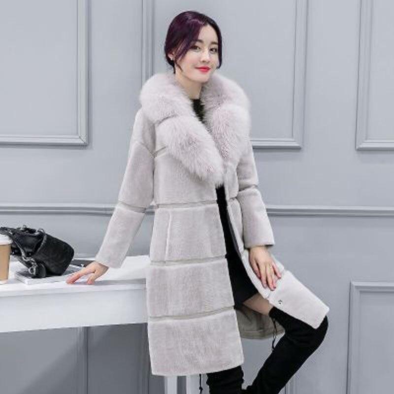 Donne giacca di pelle 2018 di autunno e di inverno delle donne Coreane cappotto nuovo nel lungo tratto di la imitazione di volpe collo di pelliccia cappotto di pelliccia