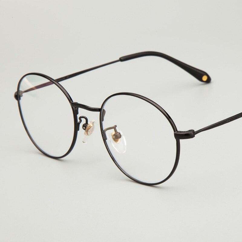 XINZE 2017 rétro lunettes cadre femmes titane pur fait à la main ronde lunettes cadres hommes marque lunettes pour lunettes myopes
