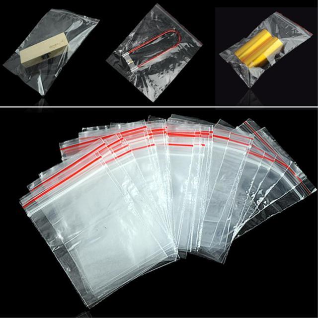 100 PCS Sacos de Jóias Ziplock Zip Zipado Reclosable Bloqueio Plástico Poli Claras Sacos de Embalagem de Tamanho Diferente