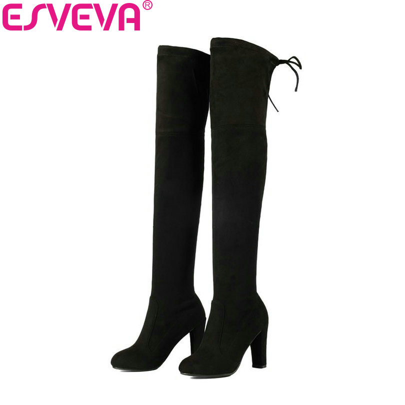 ESVEVA 2018 Women Boots Western Style Over The Knee Boots Square High Heel Winter Thicker Warm Ladies Lace Up Boots Size 34-43 vallkin 2018 lace up women boots rhinestone square high heel over the knee boots stretch fabric wedding ladies boots size 34 43