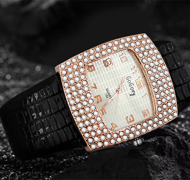 Women's Crystal Pu Leather Watch Quartz Fashion Gogoey Wristwatch Analog Rhinest