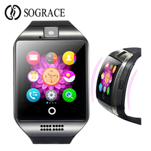 Купить с кэшбэком Q18 Fashion Bluetooth Smart Watch With Touch Screen Big Battery Support TF SIM Card Camera Smart Clock For Android Phone PK GT08