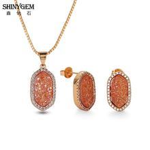 0068107c5a94 ShinyGem elegante collares pendientes conjuntos de joyas de cristal Natural  de piedra Druzy joyería de lujo