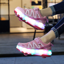 Eur28-40// Two Wheels USB Charging Glowing Sneakers on Wheels Led Light Heelys Roller Skate Shoes for Children led light shoes