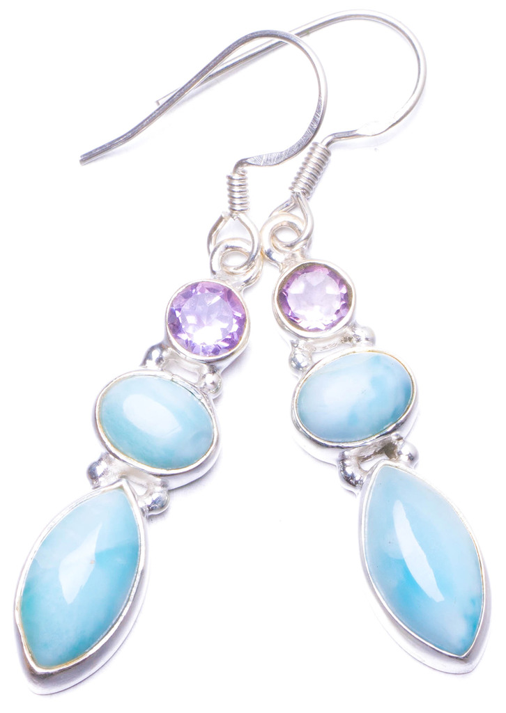 Natural Caribbean Larimar and Amethyst Handmade Unique 925 Sterling Silver Earrings 1.75 Y1030