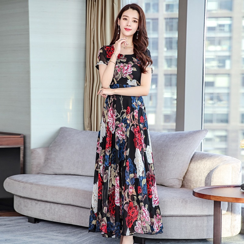 New Style Short Sleeve Women Temperament Bohemian A word Elegant Print Holiday Beach Dress in Dresses from Women 39 s Clothing