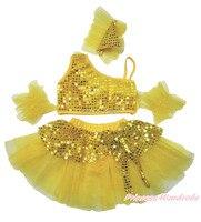 Sparkle pailletten geel ruffle top kids meisje ballet dans tutu rok kostuum 1-8Y B268