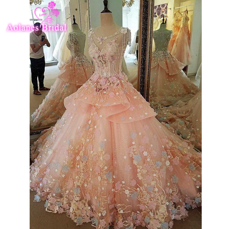 Hot Sale Luxury Pink Soft Tulle Hand Made Flower Scoop Beads Crystal Chapel Train Custom Size Wedding Dresses 2017 Real Photos