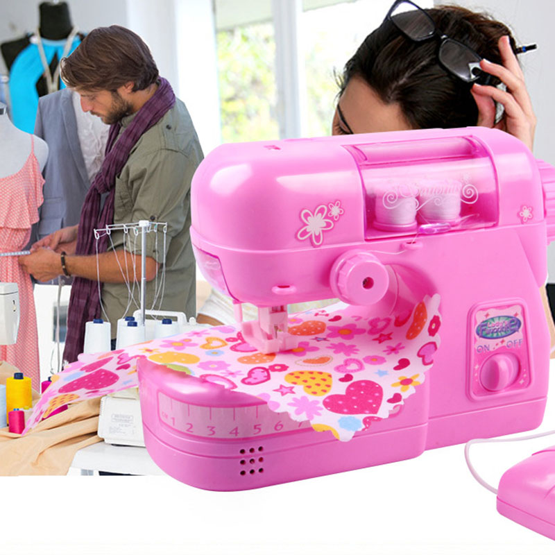 Mother Garden Pretend Play Mini Clothes Sewing Machine Sartorius Furniture White Pink Toy For Children Gift Of Christmas