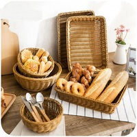Imitation Rattan Weave Storage Basket Plastic Rectangular Basket Kitchen Set Basket Basket Baskets Storage Woven Baskets