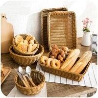 Imitation Rattan Weave Storage Basket Plastic Rectangular Basket Kitchen Set Basket Basket Baskets Storage Woven Baskets