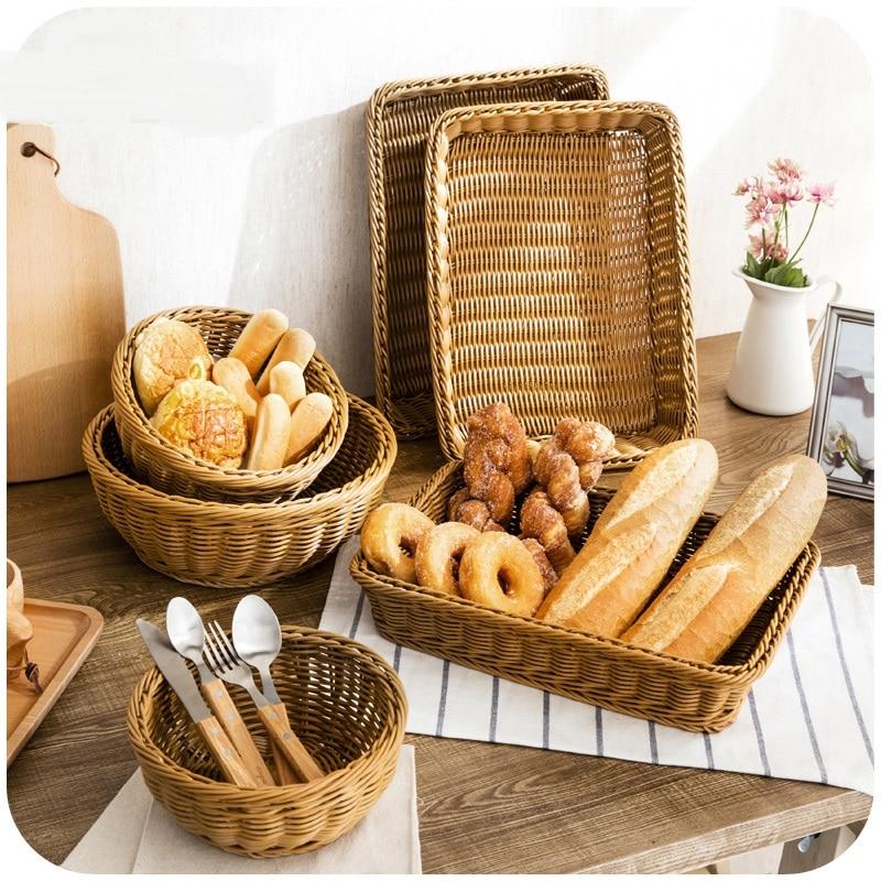 Imitation rattan weave storage basket plastic rectangular basket kitchen set basket storage woven baskets-in Storage Baskets from Home u0026 Garden on ... & Imitation rattan weave storage basket plastic rectangular basket ...