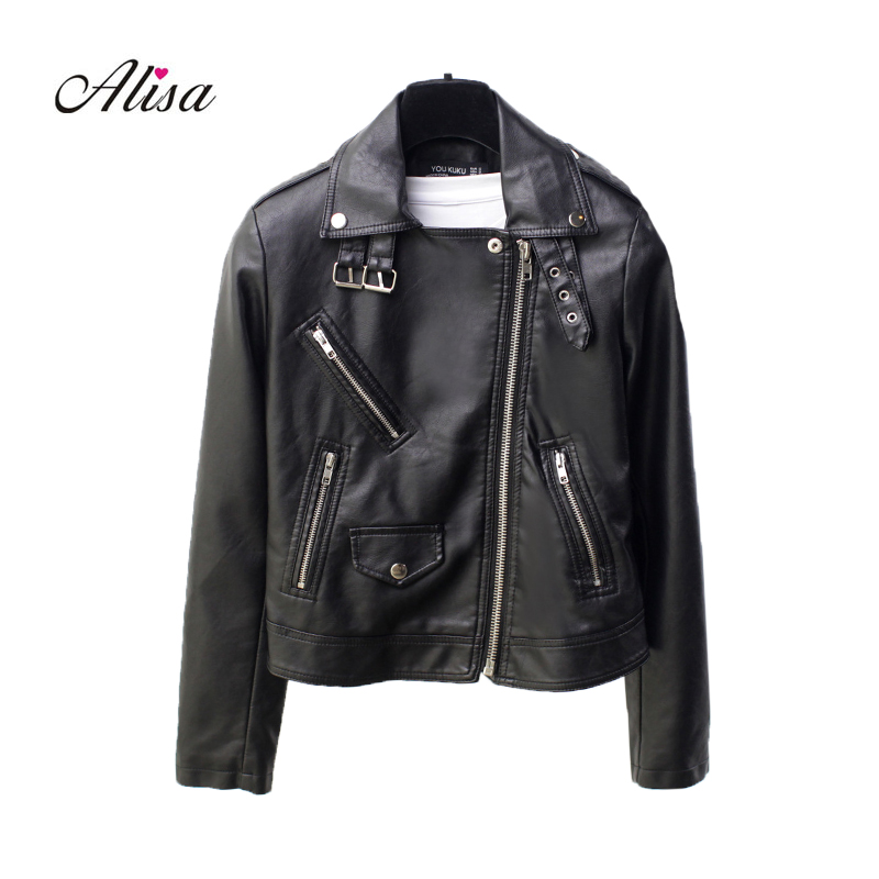Women Turn-down Collar Punk   Leather   Jacket 2018 New Pu Sping Long Sleeve Solid Zipper Black Casual Female Short Moto Jackets