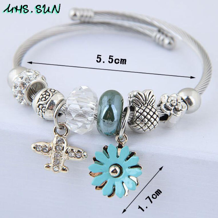 28-Fashion Design Women Bangles Bracelets Bohemia Style Flower Plane Pendants European Bangles For Female All-Math Jewelry