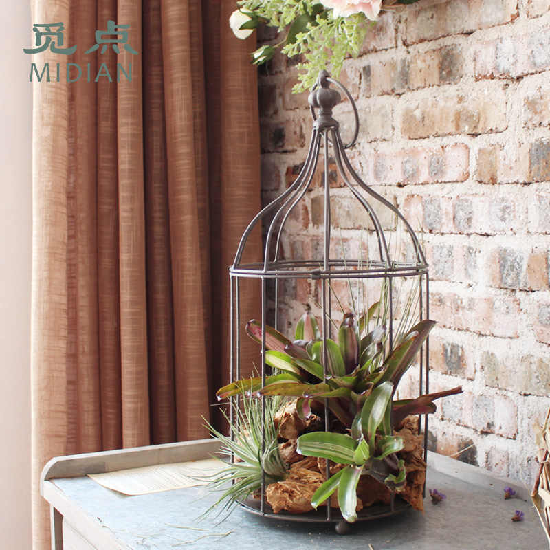 European iron birdcage decor tabletop garden photo props wedding bird cage window fleshy flower decoration in a cage