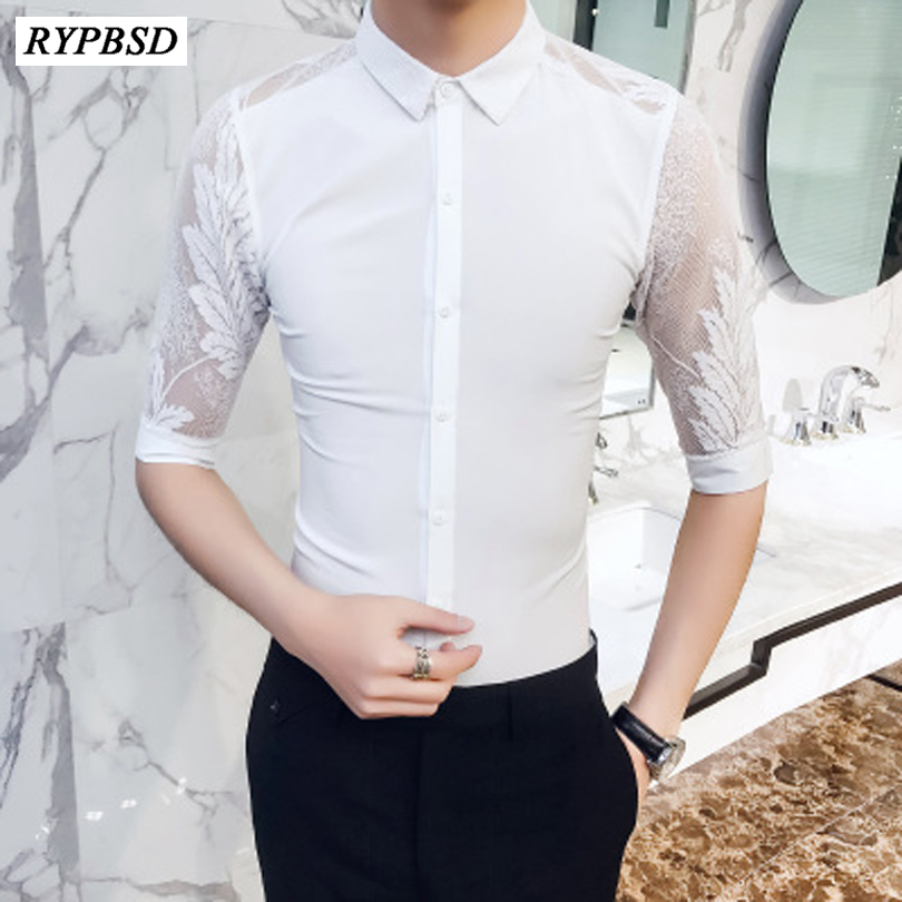 Social Shirt Lace-Sleeve Men Blouse Slim-Fit Business Korean Casual Fashion Camisa
