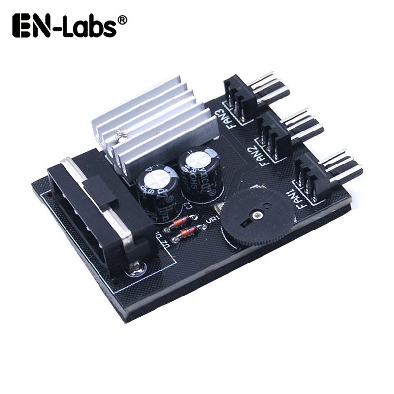 EN-Labs Computer PC Case CPU Cooler 3pin cooling fan speed temperature controller, Molex 4pin or SATA to 3 Way 3 Pin Fan Hub