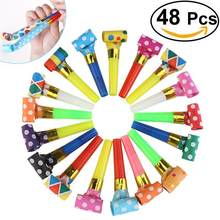 Hot Selling 48 PCS Funny Colorful Blowouts Party Birthday Blow Outs Noisemakers Whistle Party Supplies Free Shipping(China)