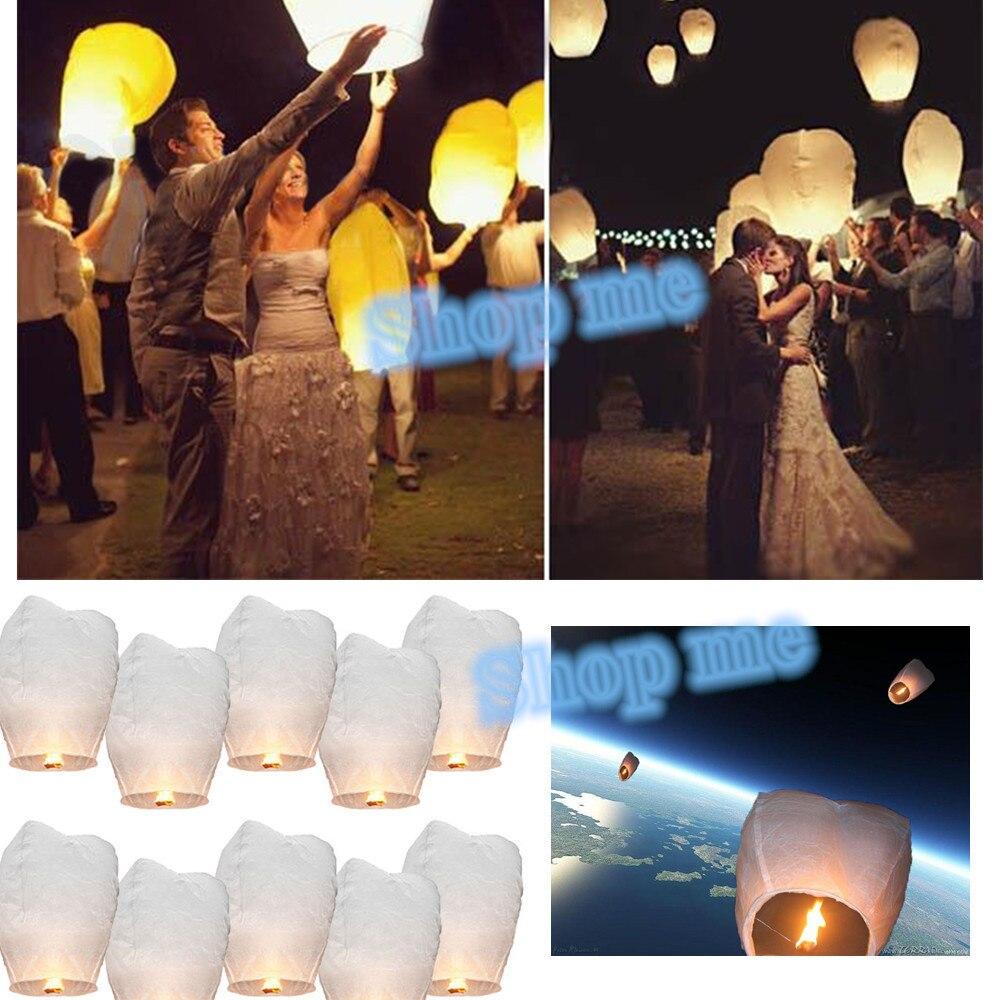 10 pcs chinois lanterne papier blanc de mariage dcoration ciel feu sky lanternes volantes bougie lampe - Lanterne Volante Mariage