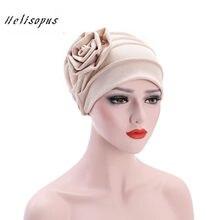 ba92e8453d Helisopus Modo Delle Donne Grande Fiore Copricapo Turbante Cofano Musulmano  Cappello Traspirante Protezione della Signora di Per.