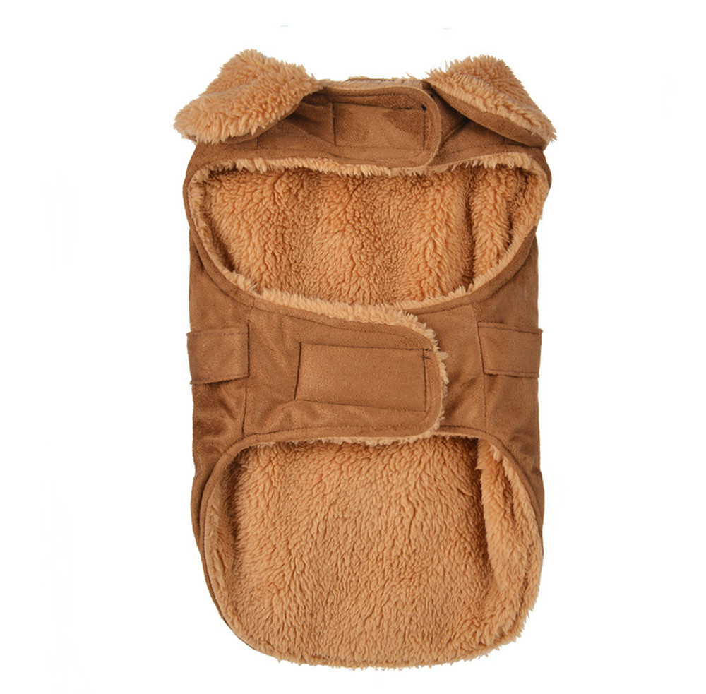 Dog Clothes For Small Dogs Pet Products Clothing Winter Warm Padded Thickening Imitation Deer Leather Jacket Dog Costumes