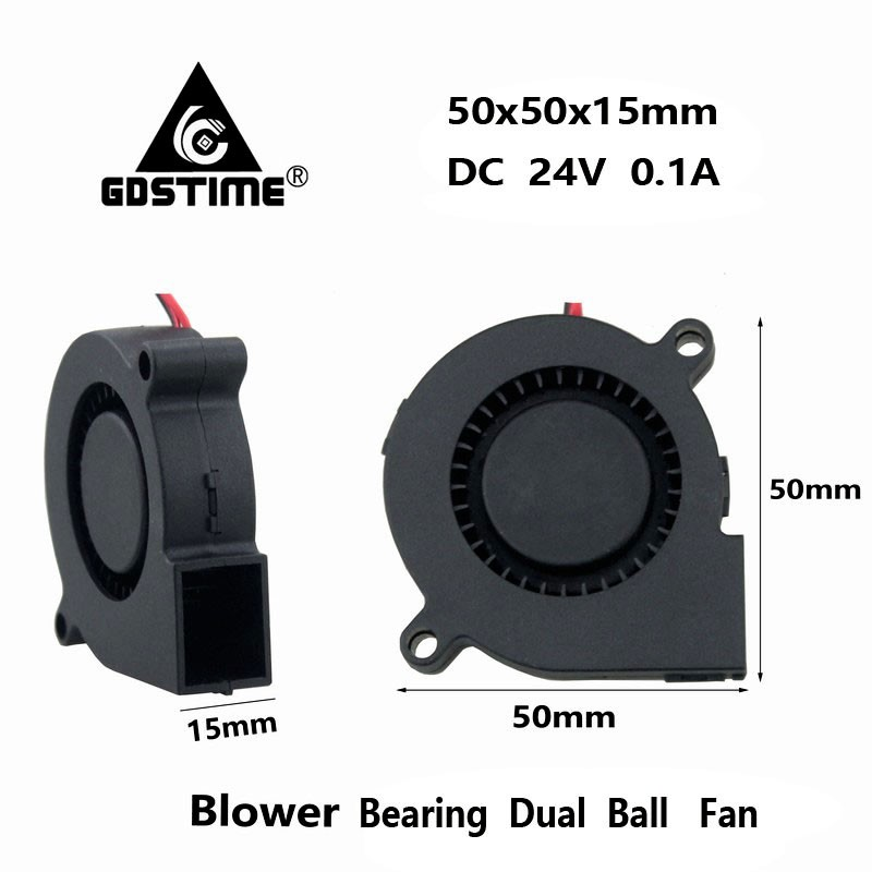 Gdstime 2 Pcs DC 24V 5015 Blower Cooling Fan Two Ball Bearing 50mm x 15mm 2Pin Centrifugal Turbo Cooler 5cm 50x15mm 2 pcs gdstime tow ball bearing 48v 170mm x 50mm circle cooler metal case industrial dc cooling fan 172mm x 51mm 2pin 17cm 17251