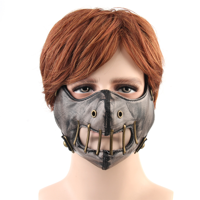 Steampunk Face Mask Unisex Gothic Punk Gear Men Women Cosplay Masks PU Leather Breathable Hip Hop Punk Hollow Out Masks