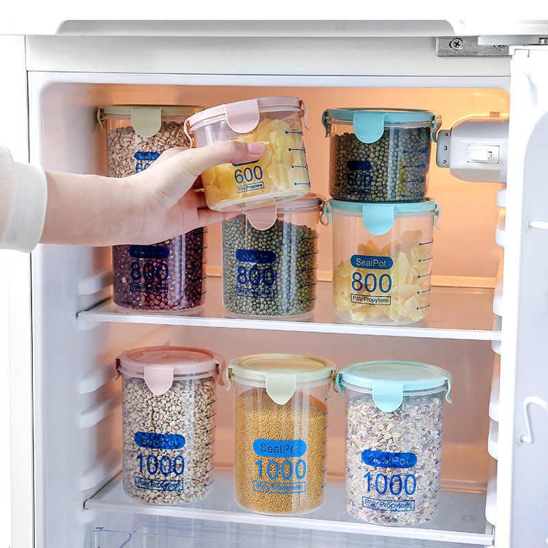 600-1000ML material de Cozinha Caixa de Armazenamento Recipiente De Armazenamento De Alimentos de Vedação Três Cores Preservação Recipiente Pote de Doce de Plástico