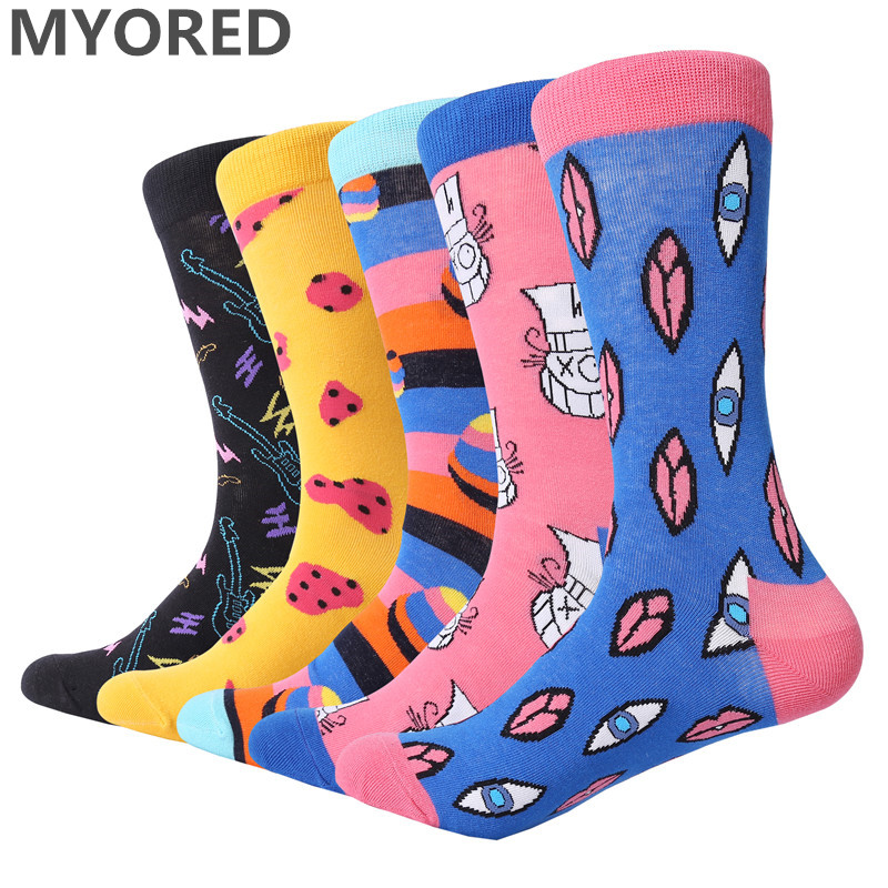 MYORED Crew Funny Socks Dress Combed Cotton Business Novelty Colorful Men Women Casual