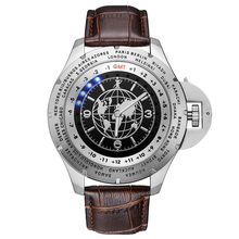 Effort Men Brand Luxury Leather Strap True World Time Map 24 time Zones Display Stainless Steel Global Travel Wrist Watches