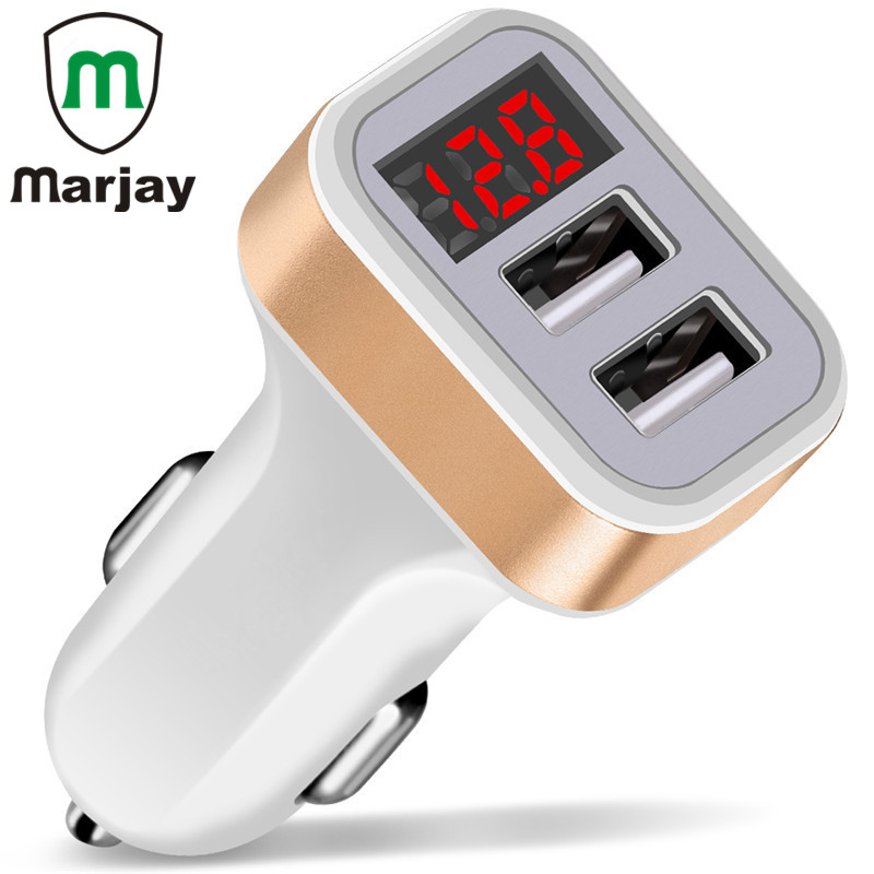 Dual USB Car Charger Digital LED Display Fast Charging Mobil