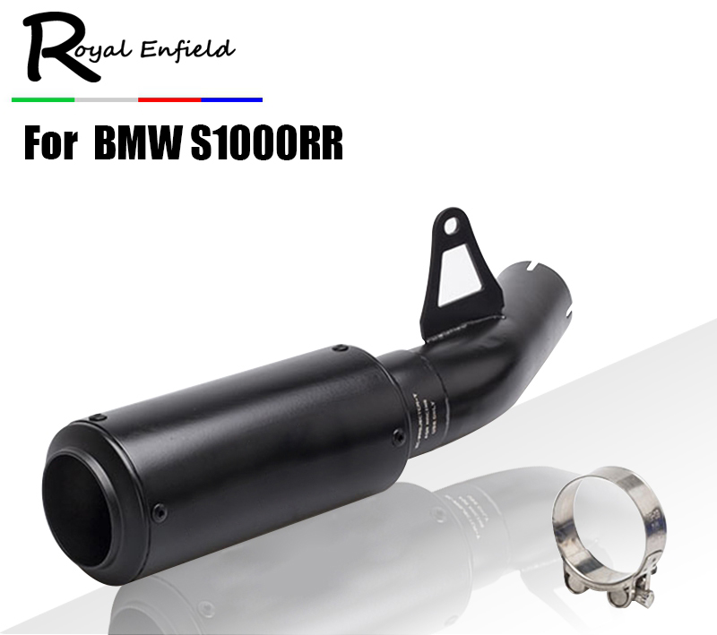 цена Motorcycle Exhaust +Middle Pipe Stainless Steel Muffler Link Pipe Middle Section Adapter Pipe for BWM S1000RR S1000R S1000 онлайн в 2017 году