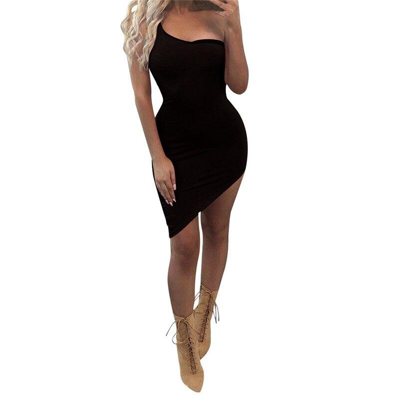 snowshine YLI Fashion Women Sexy Slim Oblique Sleeveless Irregular Mini Dress free shipping