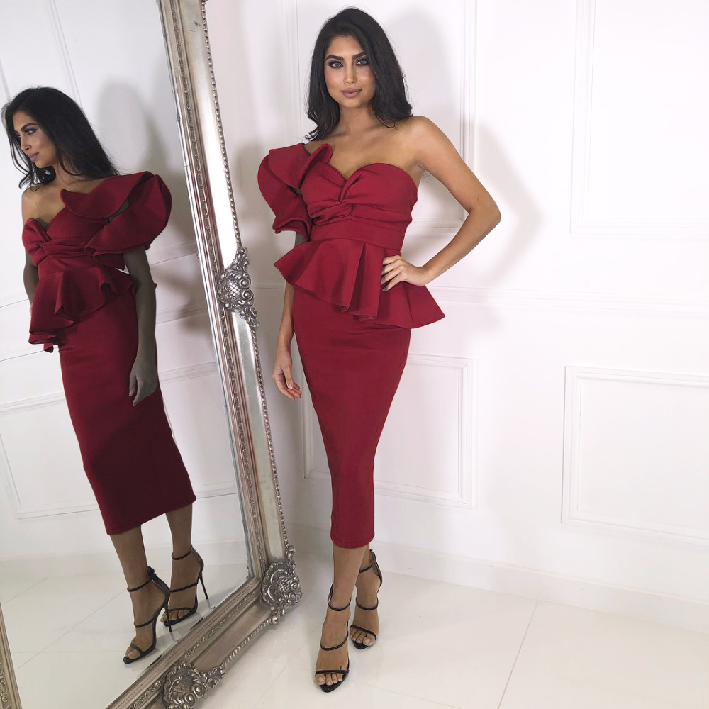 Burgundy Ruffles One Shoulder Bodycon Midi Dress Knee Length High Strapless Back Zipper Evening Party Dress