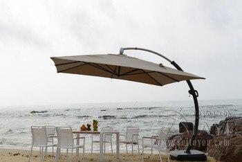 3.5*3.5 м алюминий делюкс открытый патио зонтик сад зонтик зонтик чехлы для мебели с колесами на Рождество