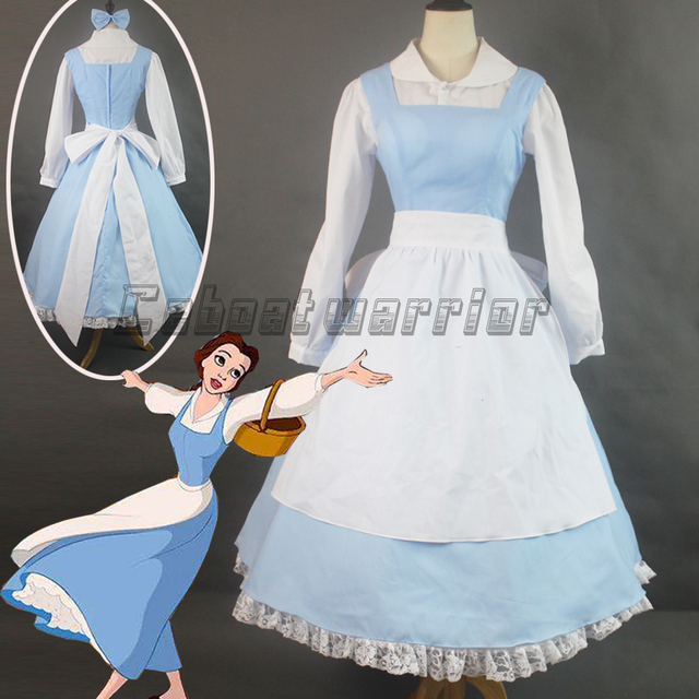 c82d189c80c6 Customized Movie Beauty and the Beast Princess Belle Blue Maid Apron  cosplay costume Adult Women Halloween dress